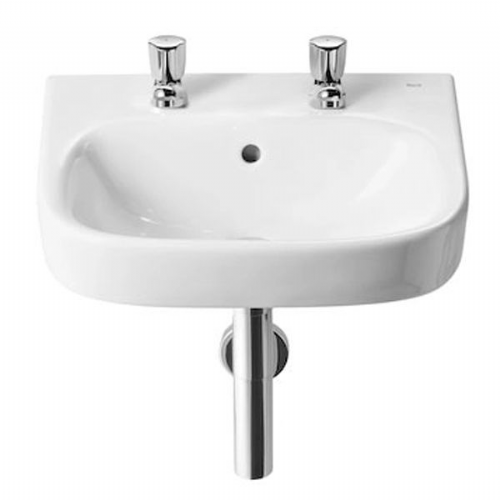 Roca Debba Square Cloakroom Basin - 450mm - 2 Tap Hole - White